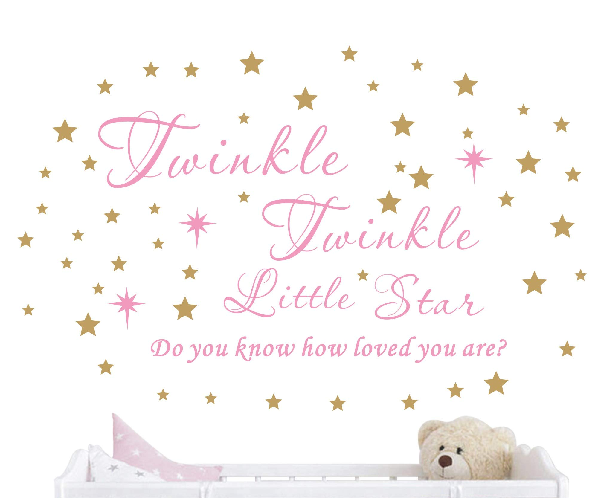 Twinkle Twinkle Little Star Wall Decal Vinyl Quote Sticker Do You Know How Loved You Are Nursery Decor For Kids Girls Bedroom Decoration Home Room Stars Art Design YMX23 (Soft Pink & Gold, 65x42cm)