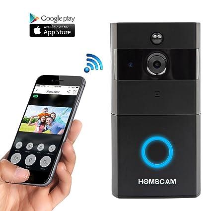 HOMSCAM Vídeo portero con WiFi con sensor bidireccional de sonido y movimiento, y visión nocturna