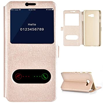 quality design 6fe1a 7dd88 Amazon.com: Galaxy J4 Plus Flip Case Gold, FlipCover for Samsung J4 ...