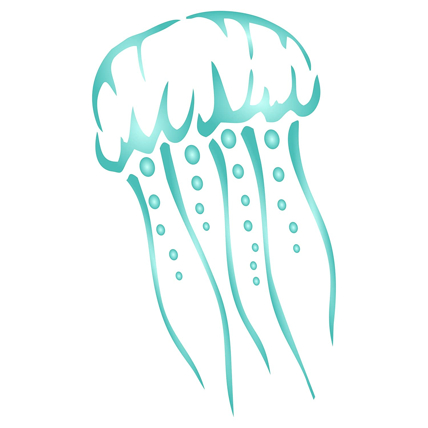 4.5 x 7.5 inch Use on Paper Projects Walls Floors Fabric Furniture Glass Wood etc. Jellyfish Stencil M - Reusable Sea Ocean Nautical Seashore Reef Stencils for Painting