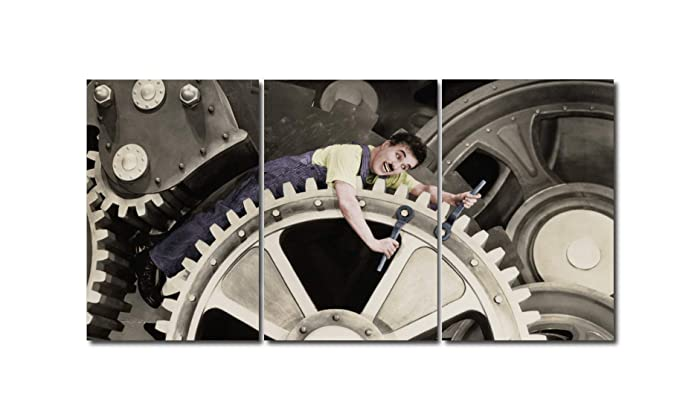 Triptico Charles Chaplin - Tiempos modernos - 180 x 90 Cm