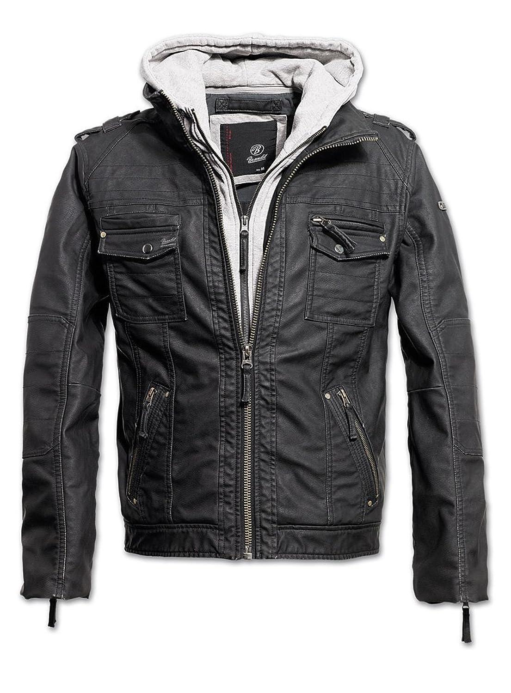 Brandit Black Rock Men's Biker Jacket Faux Leather Jacket Winter (Grey, Large)