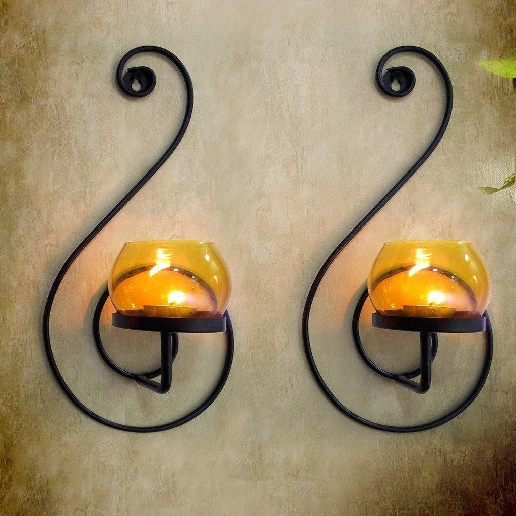Craftvatika Paire de 2fer Noir Applique murale pour bougie | à suspendre bougeoirs moderne d'éclairage Décor Décorations de Noël | |