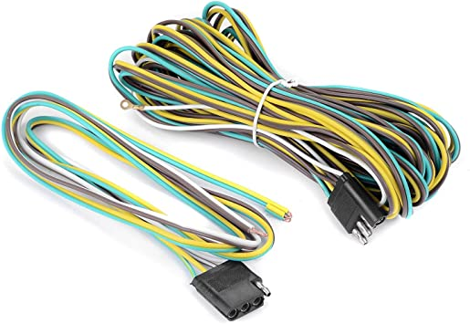 Amazon.com: new 25 Foot 4 Wire 4-Flat Trailer Light Wiring Harness  Extension Kit, 4-Way Plug 4 Pin Male & Female Extension Connector & Wishbone-Style  with 18 Gauge White Ground Wire: Automotive   Wishbone Wire Harness      Amazon.com
