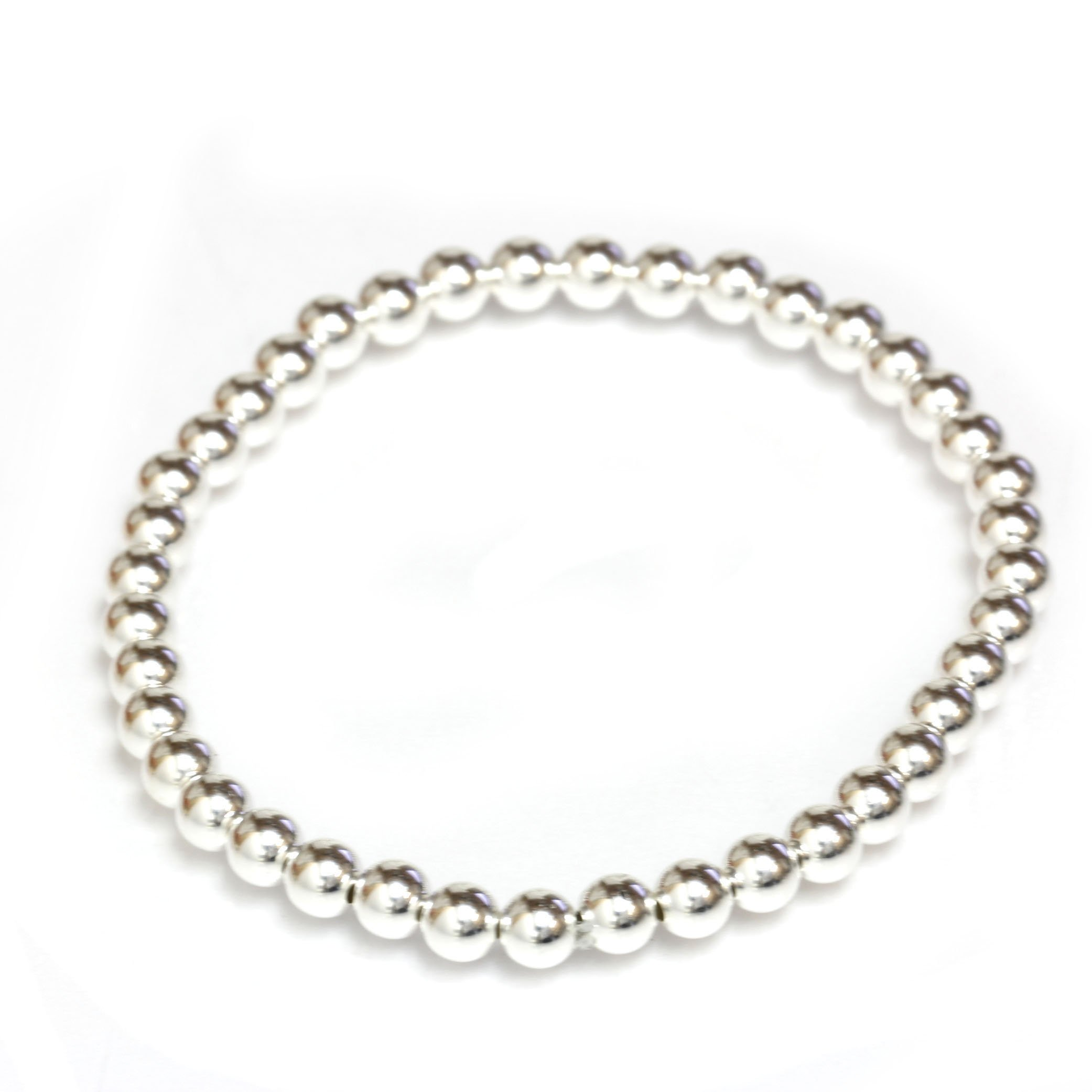 Bead Stretch Elastic Bracelet 14k Gold Yellow, White and Rose, Easy Slid On (7.5, white-gold)