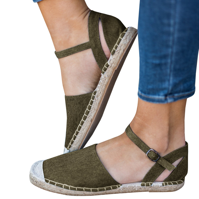 Gemijacka Damen Knouml;chel Schnalle Riemen Espadrilles Ausgeschnitten Binden Niet Klassischen Sommer Flache Sandale Schuhe  35 EU|4-gr眉n