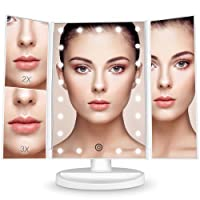 BESTOPE 990528 Makeup Mirror Magnification Vanity Make up Mirror White 21 LED Lights Tri-Fold Mirrors