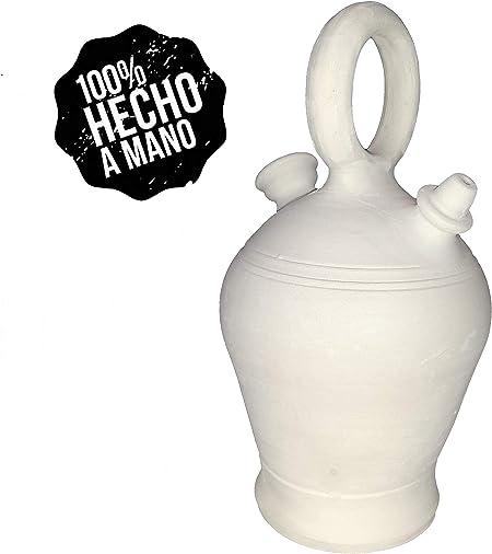 Botijo Valenciano 4.25 litros Artesanal 100%,Hecho en España Dispensador de Agua fría, Porron de Arcilla Blanca,Sal,Barro.: Amazon.es: Hogar
