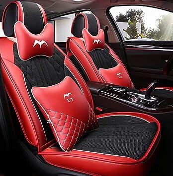 Lujoso Negro-Amarillo Asientos de auto de cuero de lujo para autom/óvil Cubiertas Juego completo de 5 asientos Universal