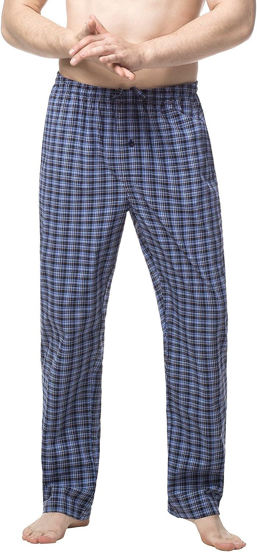 LAPASA Men's 100% Cotton Woven Pajama Lounge Sleep Pants Plaid PJ Bottoms w Pocket and Drawstring M38