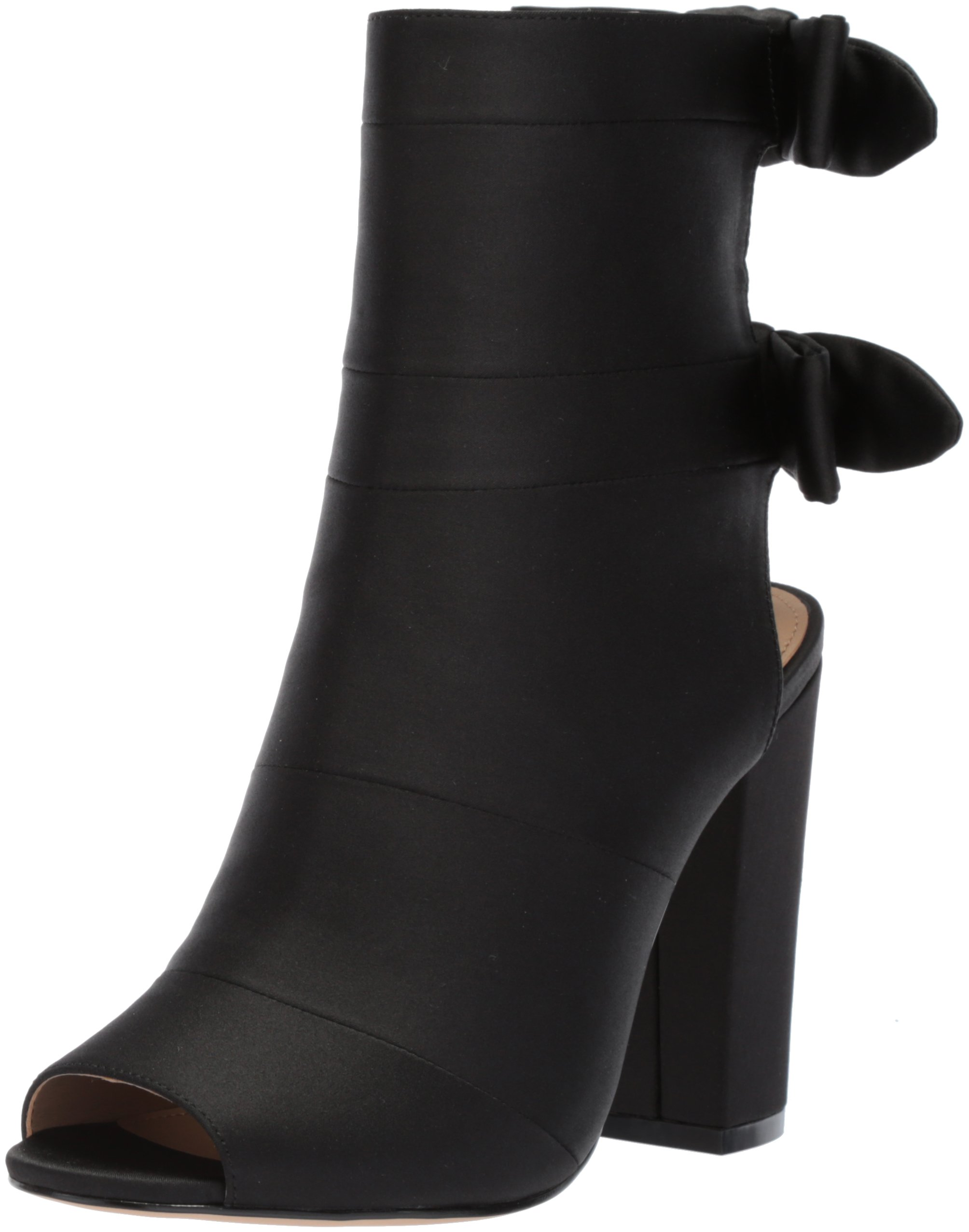 The Fix Women's Phoebe Open Toe Block Heel Bootie with Bow Detail Ankle Boot, Black Satin, 8.5 B US