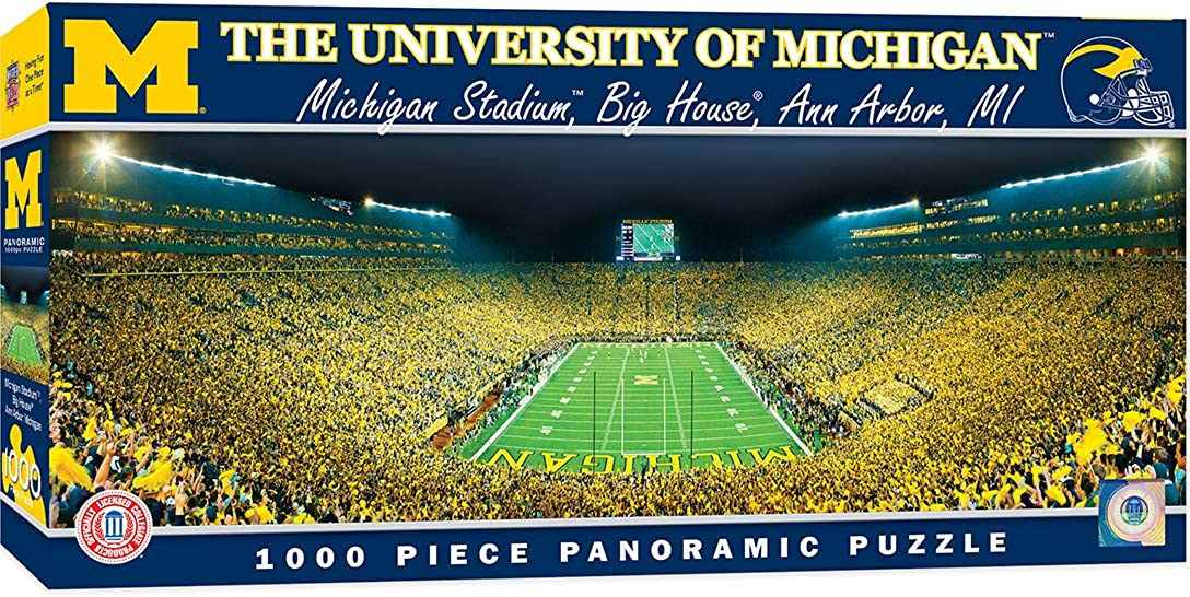 "MasterPieces NCAA Michigan Wolverines Football Stadium Panoramic Jigsaw Puzzle, 1000 Pieces, 13"" x 39"""