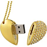 MAXINDA Gioielli Cuore Chiavetta USB 32 GB 2.0 di Metallo Memoria usb con Cordino e Sacchetto di Velluto (D'oro Cuore)