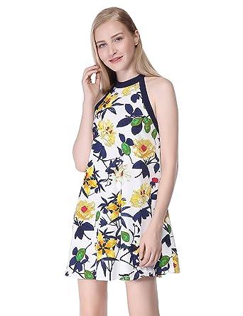 d91416e9ada058 Alisa Pan Womens Halter Top Short Printed Shift Summer Party Dress 4 US  White