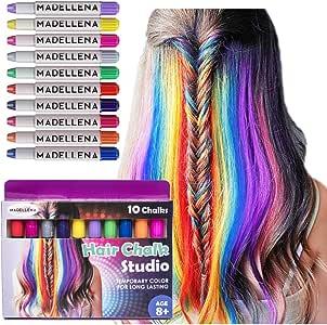 Christmas Gift for Girls 2019 - Hair Chalk For Girls, Unicorn Hair, Hair Dye for Kids, Birthday Gifts for Girls, Girl Gifts, Temporary Hair Color for kids, Hair Chalk Pens, 80 Applications per pen