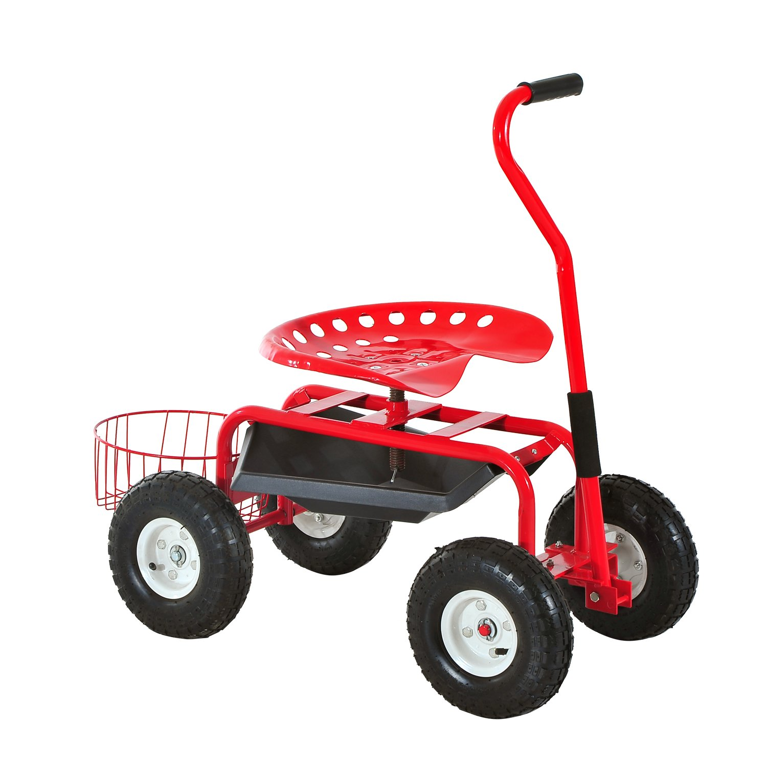Outsunny Adjustable Rolling Garden Cart Outdoor Gardening Planting Station Trolley Swivel Gardener Work Seat Heavy Duty With Tool Tray & Basket Red 150kg MHSTAR UK 845-029