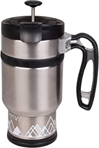 BruTrek Double Shot 3.0 Travel French Press Coffee Mug - Bru-Stop Insulated Stainless Steel Mug with Non-Slip Grip, Brushed Steel, 16 oz Cup