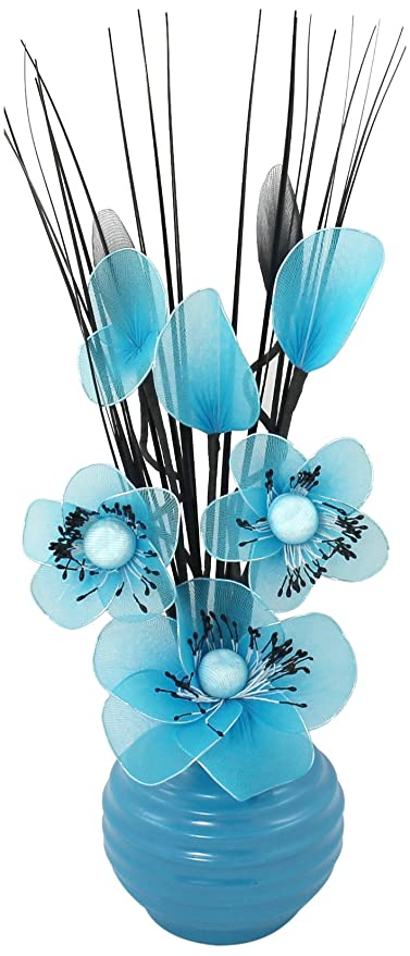 Amazon Flourish 705855 813 Blue Vase With Teal Blue Nylon