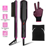 Hair Straightener Brush - JURGEN K Ionic Hair Straightening Brush with Anti-Scald, Auto Temperature Lock, Auto-Off and MCH Ceramic Feature, Dual Voltage Hair Straightener Comb for Home, Travel & Salon