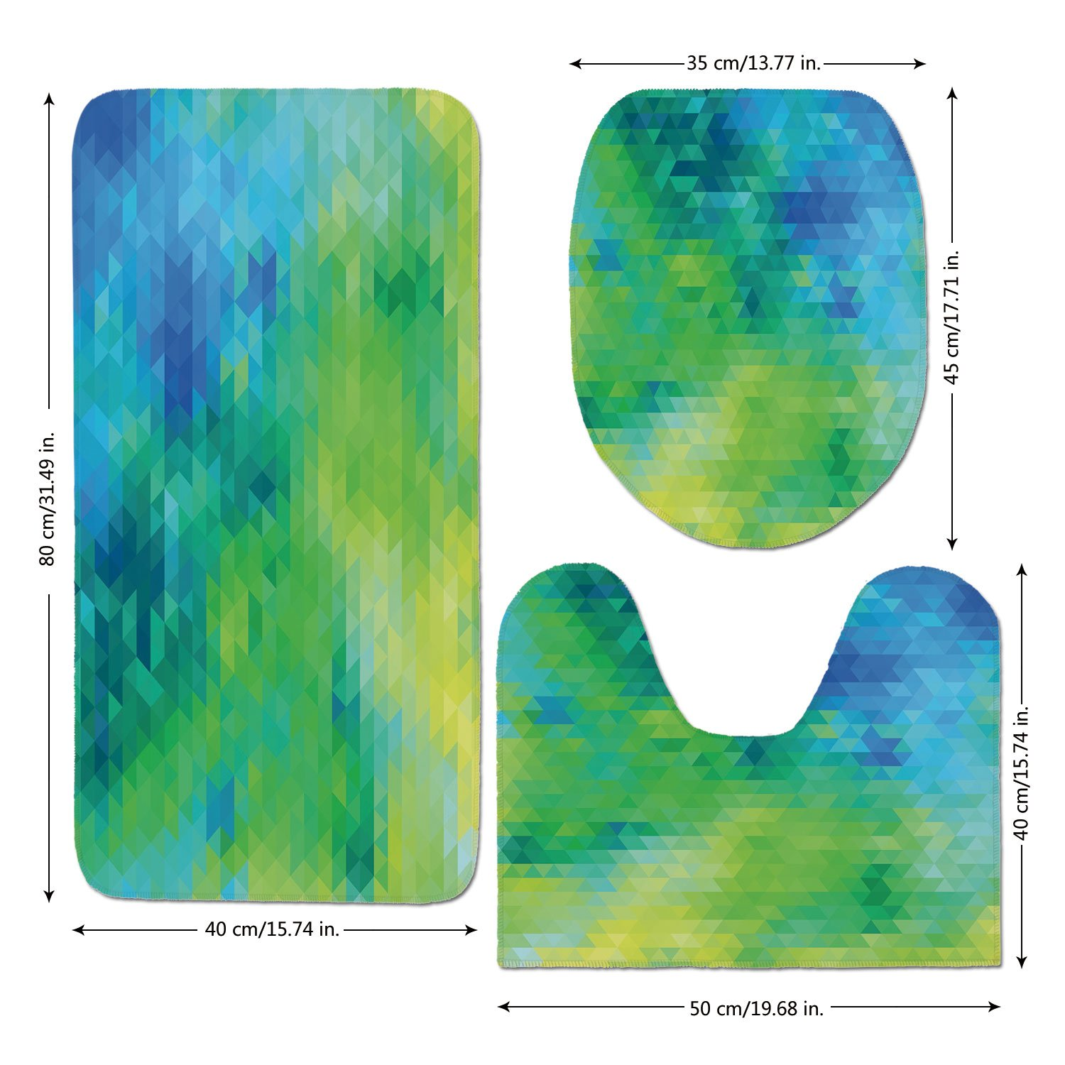3 Piece Bathroom Mat Set,Yellow and Blue,Geometric Abstract Pattern with Triangles Ombre Inspired Decorative,Turquoise Lime Green Yellow,Bath Mat,Bathroom Carpet Rug,Non-Slip