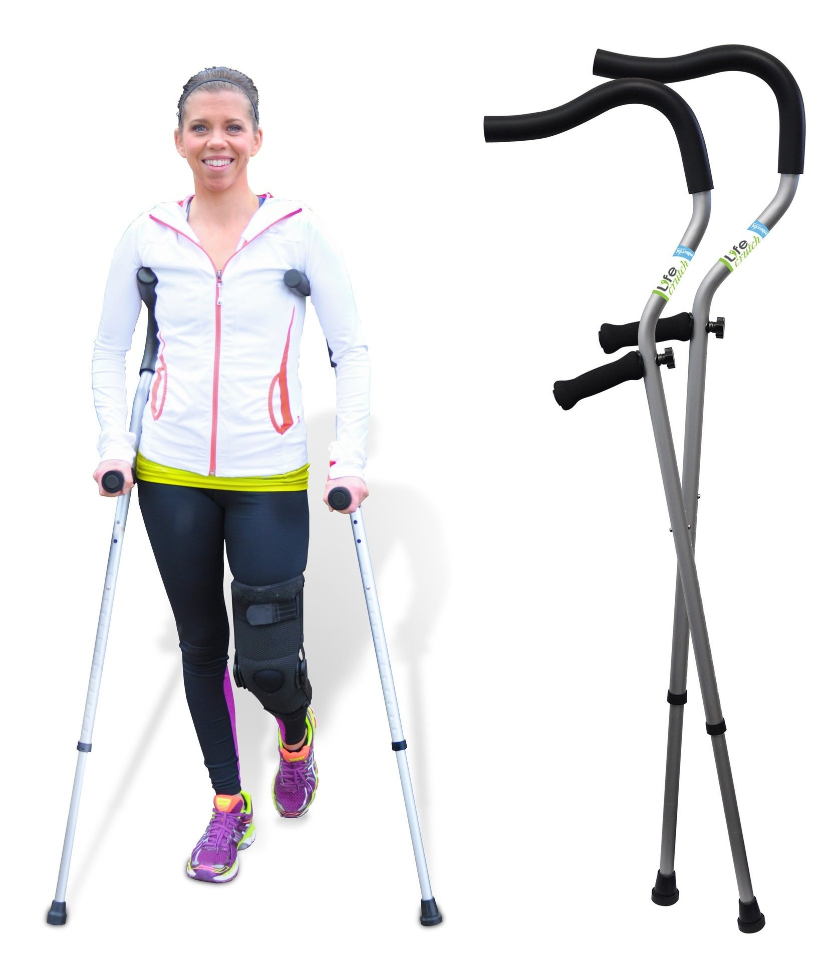 Life Crutch by Millennial Medical, 1 Pair of Crutches - Universal Size 4'6'' - 6'7'' Adjustable Ergonomic Handles for Adult and Child