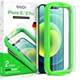 RelyOn Screen Protector for iPhone 12 Pro and iPhone 12 [2-Pack] - [6.1 inch] Tempered Glass film with installation frame, Pr