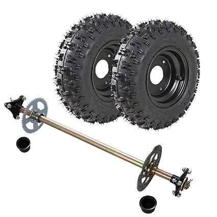 TDPRO Rear Axle Assembly Complete Wheel Hub Kit & 4 10-6 Tires With Rim for  Mini Kids ATV Quad Go Kart
