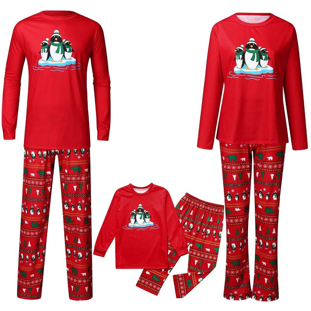 Matching Family Christmas Pajamas Set Penguin Printed Top+Pants Xmas Family Clothes Pajamas Outfits by Pandaie
