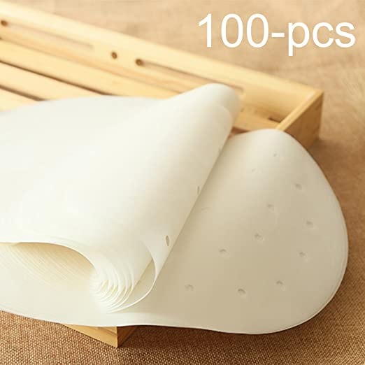 100Pc Disposable Air Fryer Steamer Liners Non-Stick Steaming Basket Paper Baking