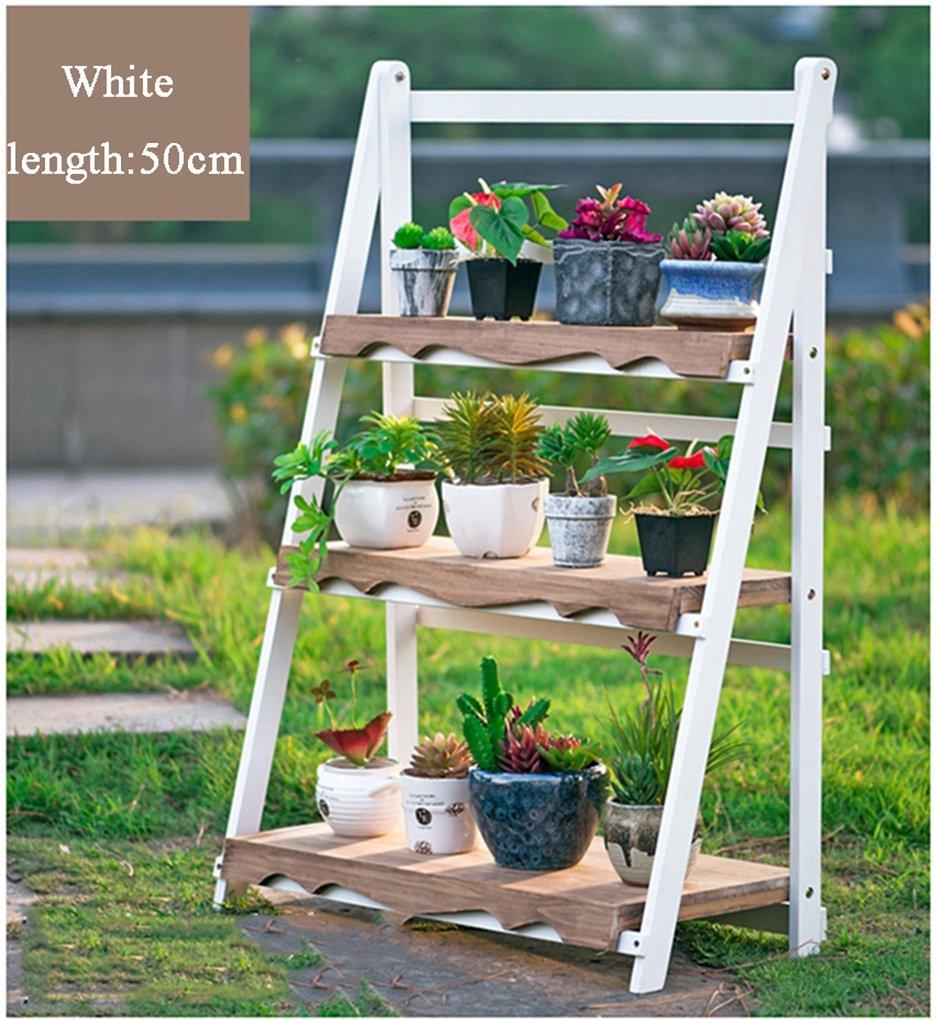 Escalera de 3 Niveles Estantes de Flores Retro Estante de Flores de Madera Plegable Estantes de la Esquina Exhibición de la Planta de jardín para macetas ...
