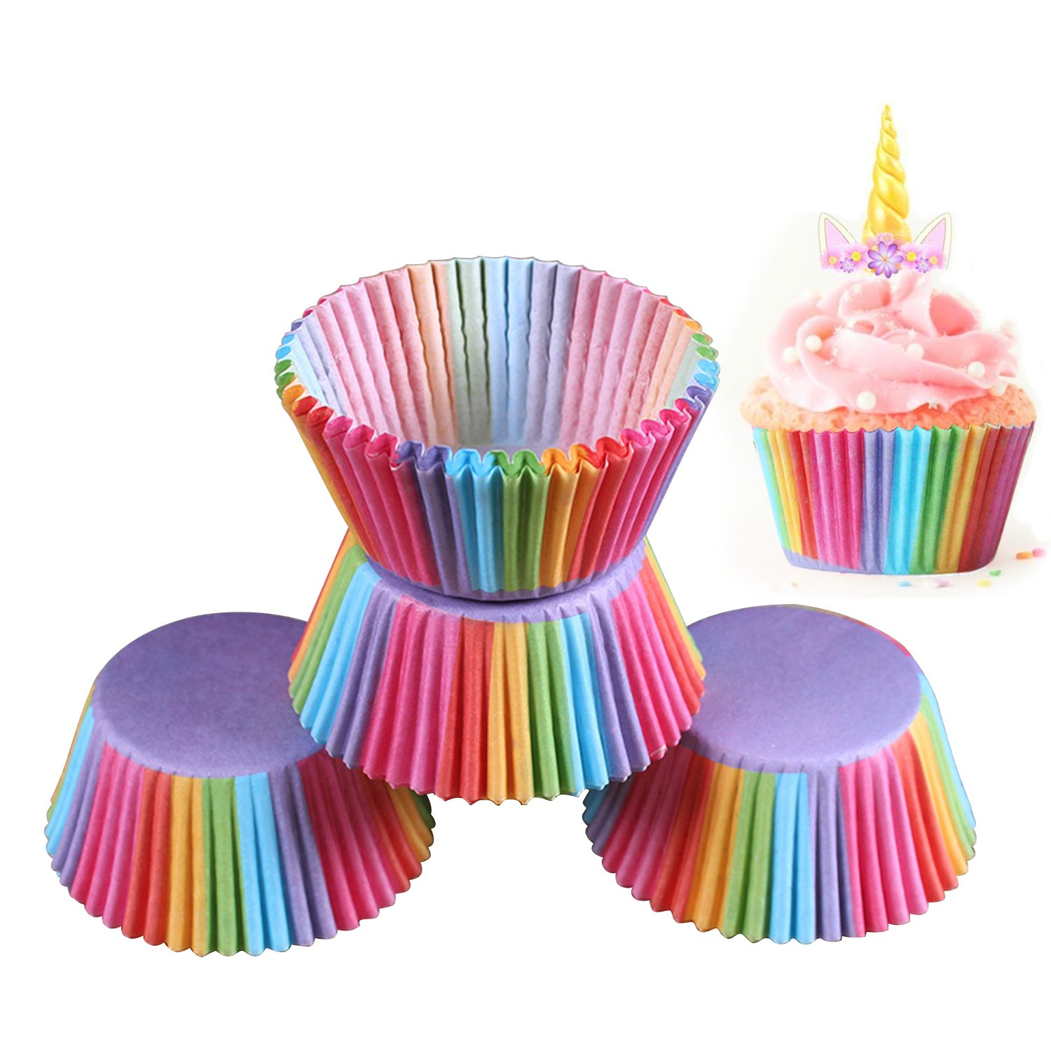 Brand New 200 x Rainbow Cupcake Cases Cake Baking Muffin Dessert Wedding Party The Best Kingdom