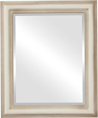 Rectangle Beveled Wall Mirror for Home Decor – Philadelphia Style – Taupe – 28×40 Outside Dimensions