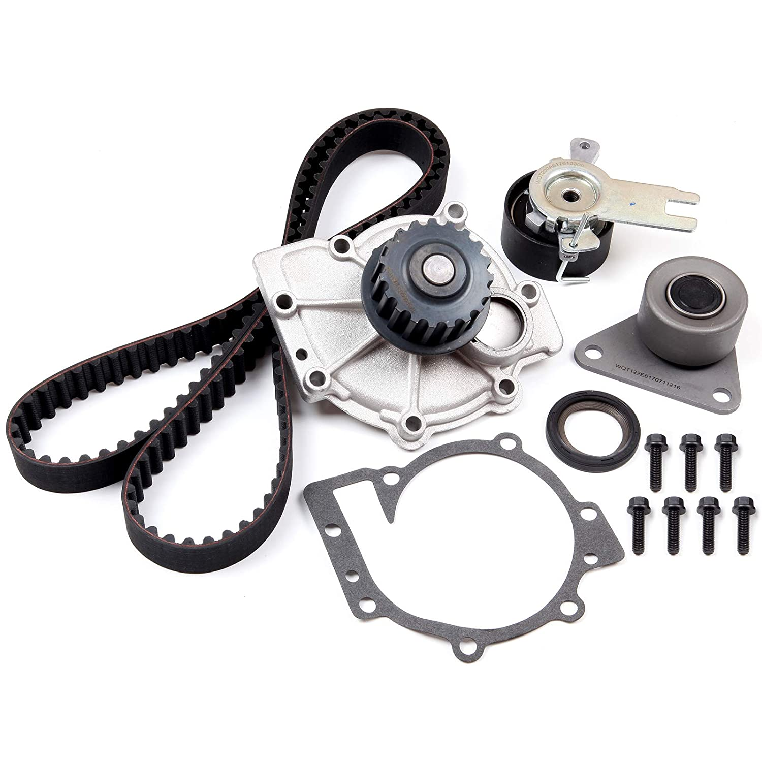 OCPTY Timing Belt Kit Including Timing Belt Water Pump with Gasket tensioner Bearing etc Compatible for 07 08 09 10 11 12 13 Volvo C30//01 02 03 04 05 06 07 08 09 12 13 14 15 Volvo S60