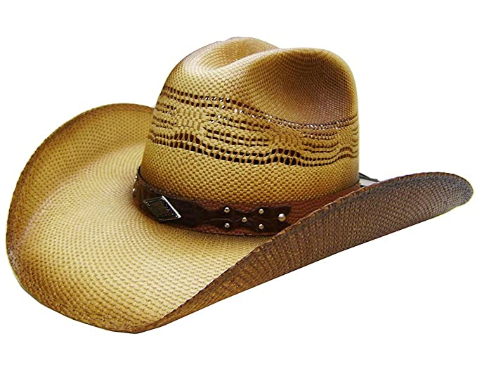 8be52ce4f1abf Modestone Unisex Straw Cowboy Hat Metal Diamond Concho Studs Hatband Tan   Amazon.co.uk  Clothing