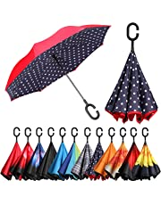 BAGAIL Double Layer Inverted Umbrellas Reverse Folding Umbrella Windproof UV Protection Big Straight Umbrella for Car Rain Outdoor with C-Shaped Handle