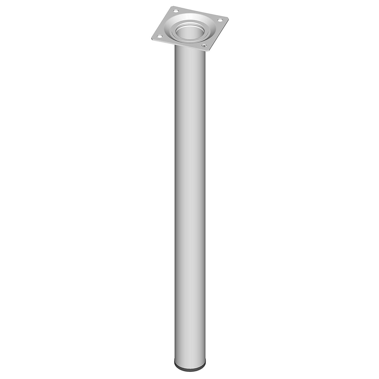 lot de 4 pieds Element System Pieds en tube dacier ronds pour tables et meubles avec plaque de vissage 11100-00057
