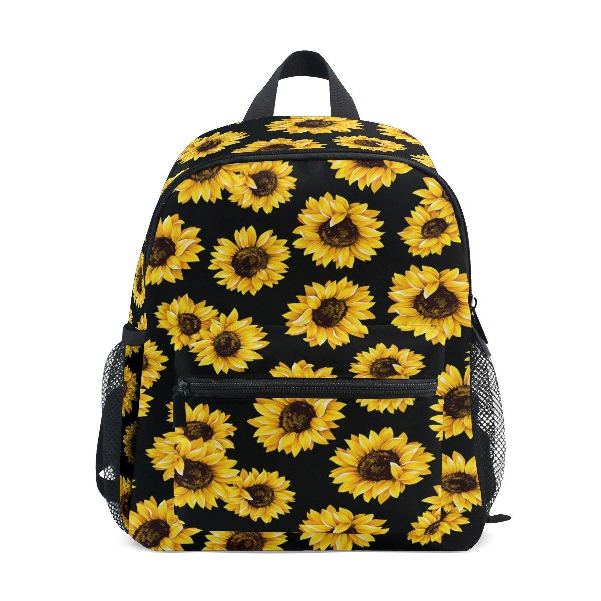 WAMIKAひまわり花柄Pre School子供キッズ学生の断熱幼児バックパック、ブラックの花12」スクールバッグ男の子女の子   B07G23LC9M
