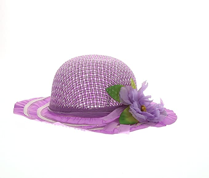 17c4ae4cf71 Mozlly Girls Purple Tea Party Sun Flower Hat Lightweight Breathable Straw  Cap Travel Beach Floppy Brim