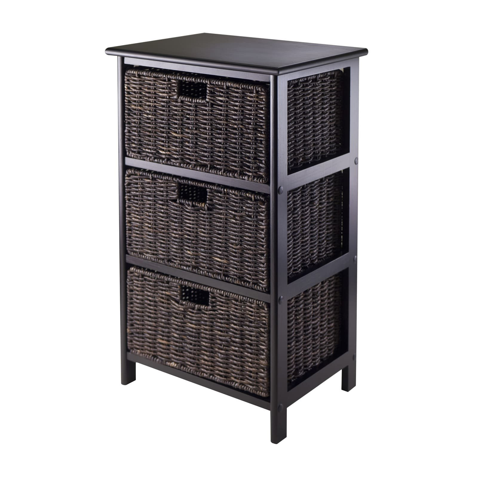 Luxury Home Omaha Brown Wood Three Foldable Baskets Storage Rack by Luxury Home (Image #1)
