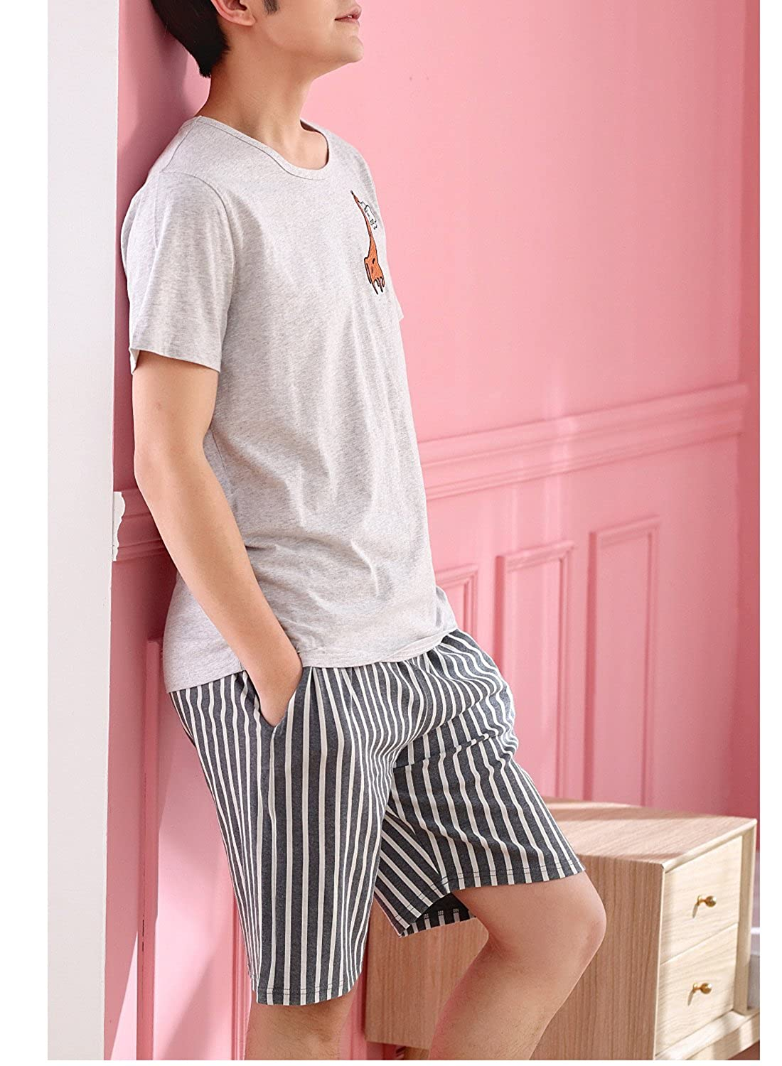 Fashion Teen Boys Top and Shorts PJS Set Loungewear Snug-Fit Sleepwear