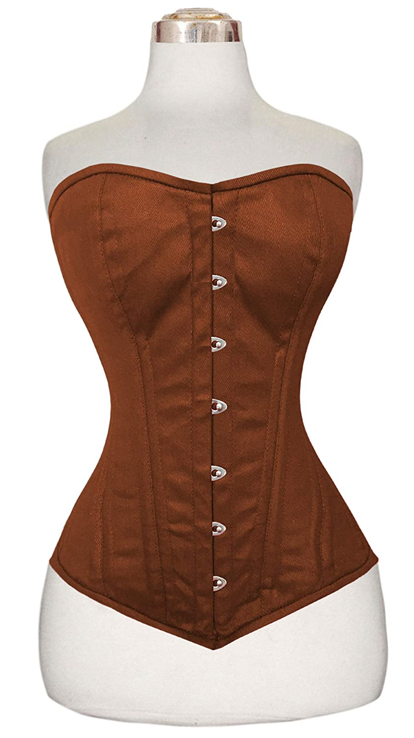 3840cc1fafb DF Styles Heavy Duty Double Steel Boned Over Bust Waist Trainer Cotton  Corset 8555  Amazon.co.uk  Clothing