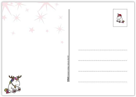 Weihnachtsgr/ü/ße im Set mit pummeligen Einh/örner in rosa pink und in blau 2 fr/öhliche Motive mit je 5 Postkarten DIN A6 ArtUp.de 10 lustige Weihnachtskarten Dicke Einh/örner