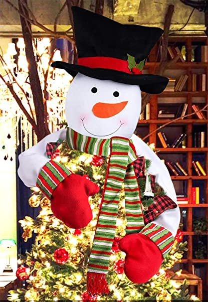 Jbeng Snowman Christmas Tree Toppers Free Cotton Stuffing Snowman Tree Topper Treetops Large Snowman Christmas Tree Ornaments Home Decor Great Tree