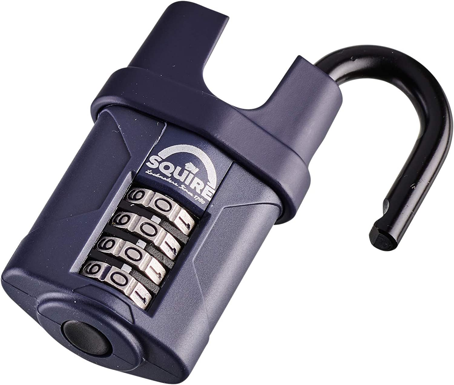 Recodable Squire Defender Black Diecast 4 Lever Combination Padlock 40mm