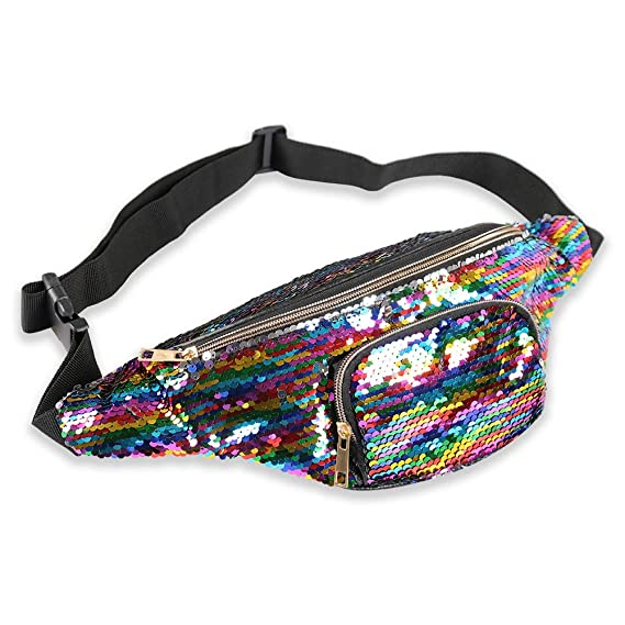 Festival,Hiking,Partying Jogging Holyami Holographic Shiny Fanny Pack for Women and Men,Flat Fashion Waterproof Travel Waist Packs Bum Bags with Adjustable Belt for Rave