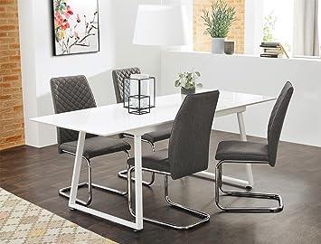 Tischgruppe Esstisch Armin Weiss Hochglanz 4 Stuhle Benito Grau