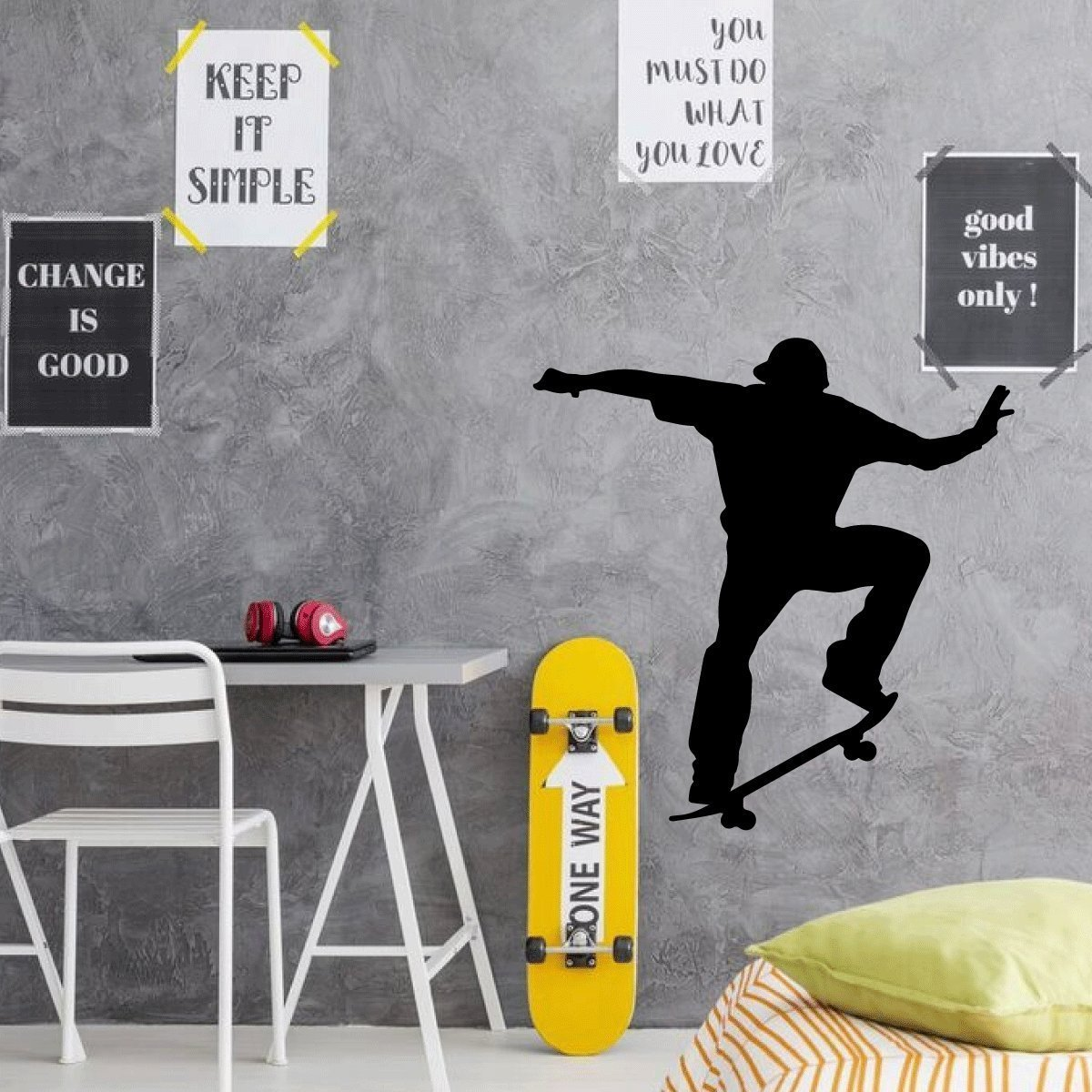 Amazon Com Skateboard Wall Decor Personalized Skater Decal For Home Decor Bedroom Or Playroom Handmade