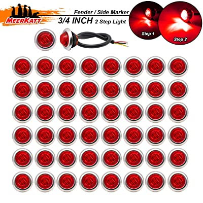Meerkatt (Pack of 50) 3/4 Inch Red LED Mini Round Side Marker Fender Light 3 Diodes with Chrome Bezel Waterproof for Trailer Jeep Truck RV Caravan SUV Cabin Pickup Lorry 12V DC Stop Brake Tail 3led-HL: Automotive