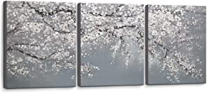 Bathroom Decor Wall Art White Flowers Grey Background Picture Hand-Painted Oil Painting 3 Piece Framed Wall Decor for Bedroom Living Room Modern Plant Room Decorations Artwork Size 12x16x3 Panel