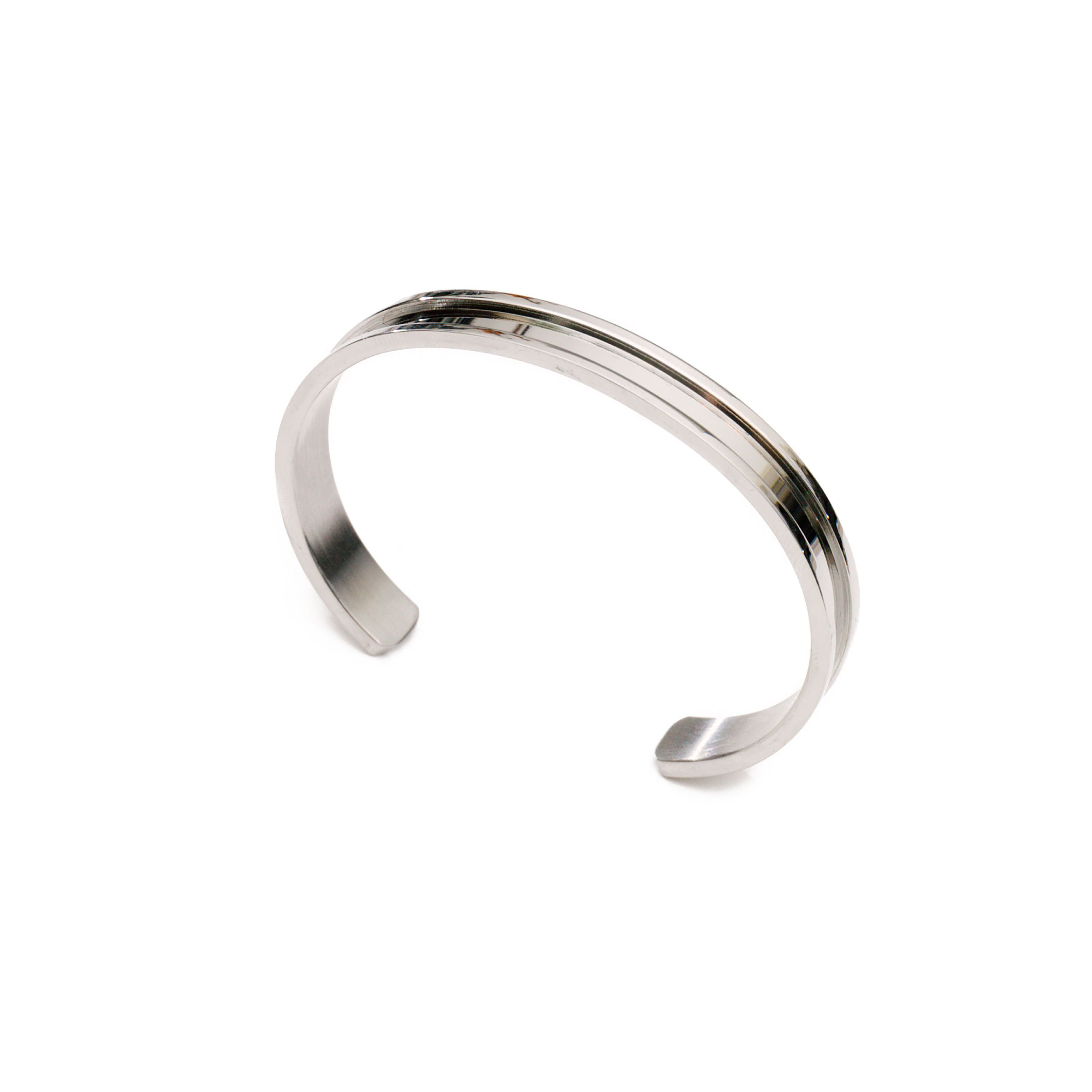 Lucky Lady Collections Hair Tie Bracelet by Silver Grooved Cuff Bangle (1 Pack) | Women's Fashion Bracelets for Comfort and Style | No-Show Hair Elastic Bangles for Girls | Accessory or Gift
